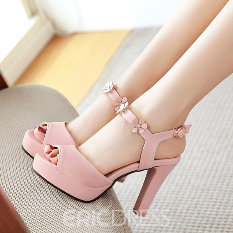 Ericdress Sweet Ankle Strap Chunky Sandals with Buckle
