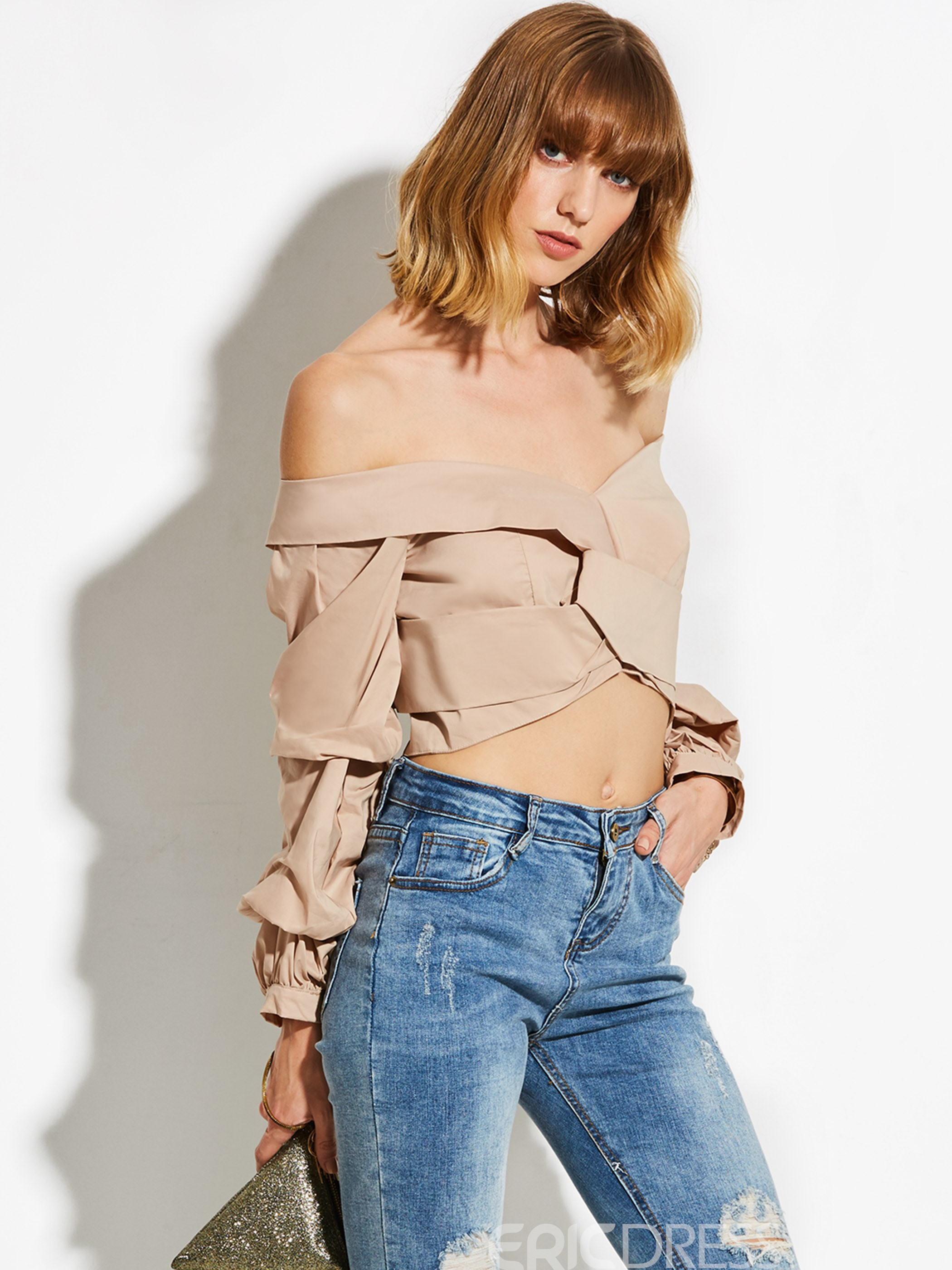 Ericdress Khaki Off Shoulder Puff Sleeve Blouse