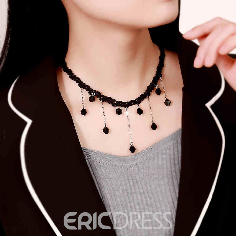 Ericdress Alluring Black Lace Tassel Necklace for Women