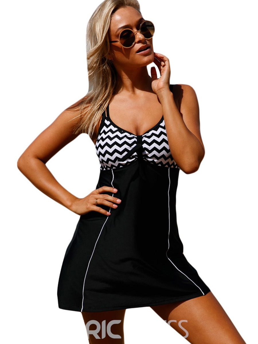 Ericdress Zigzag Stripe Color Block One Piece Swimwear (Include Bottom Pants)