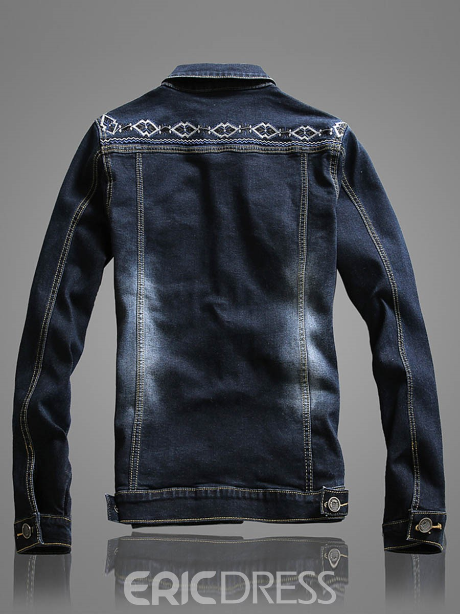 Ericdress Single-Breasted Denim Casual Men's Jacket