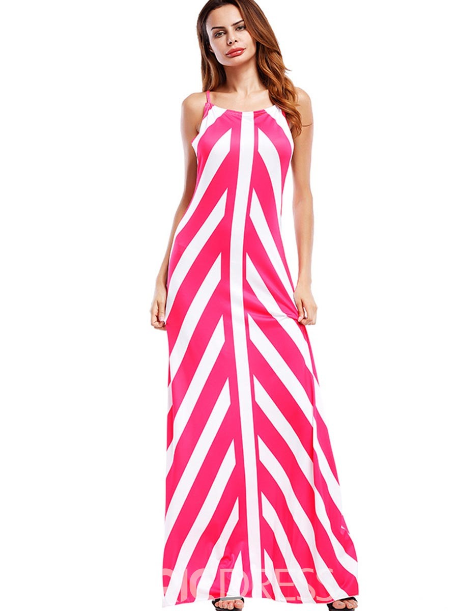 Ericdress Vertical Striped Spaghetti Strap Backless Maxi Dress