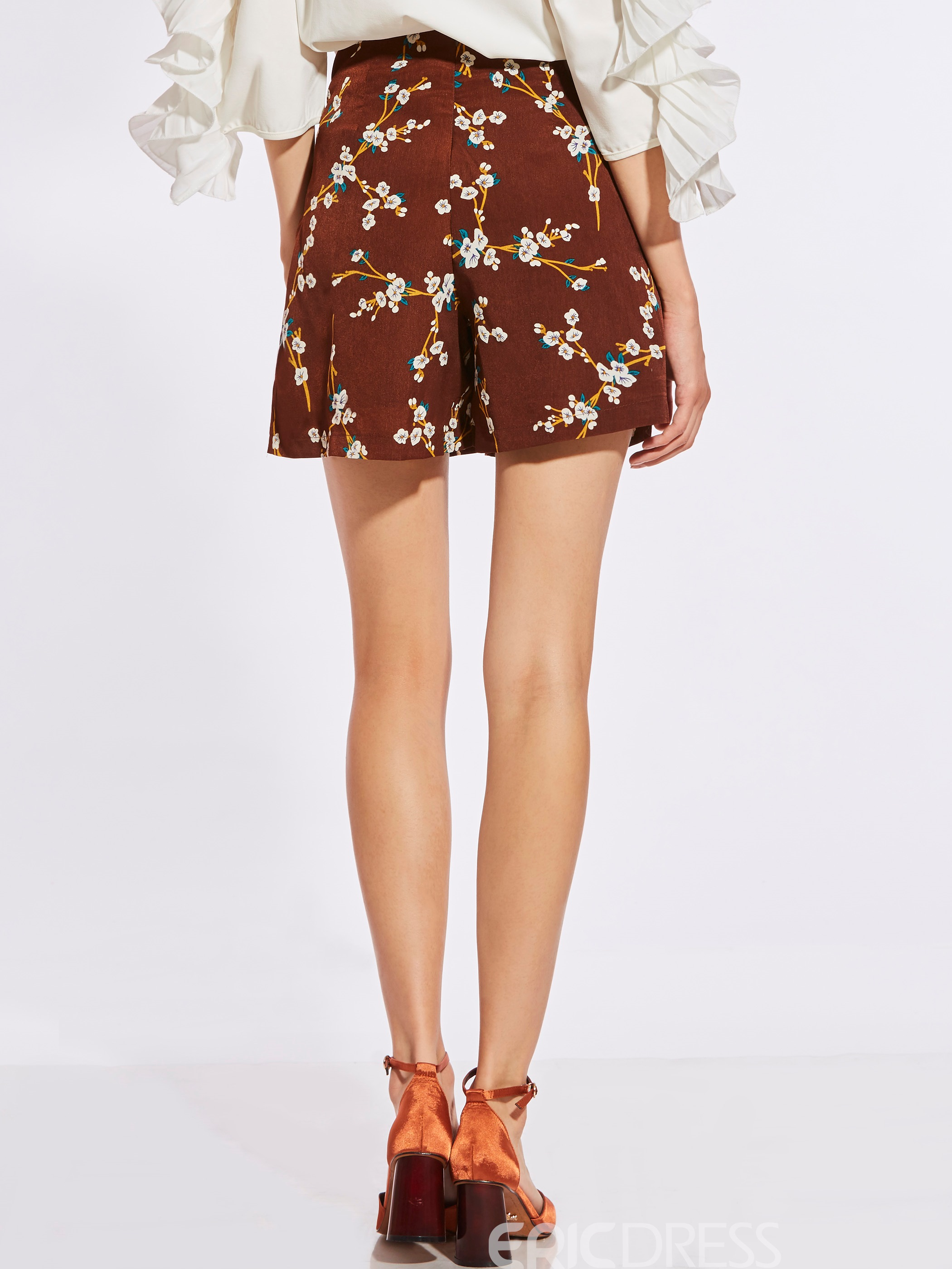 High-Waist Thin Flower Print Women's Shorts