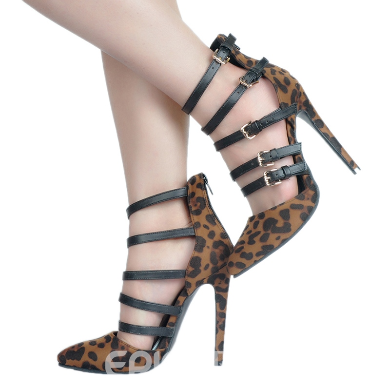 Ericdress Pointed Toe High-Cut Stiletto Pumps with Buckle