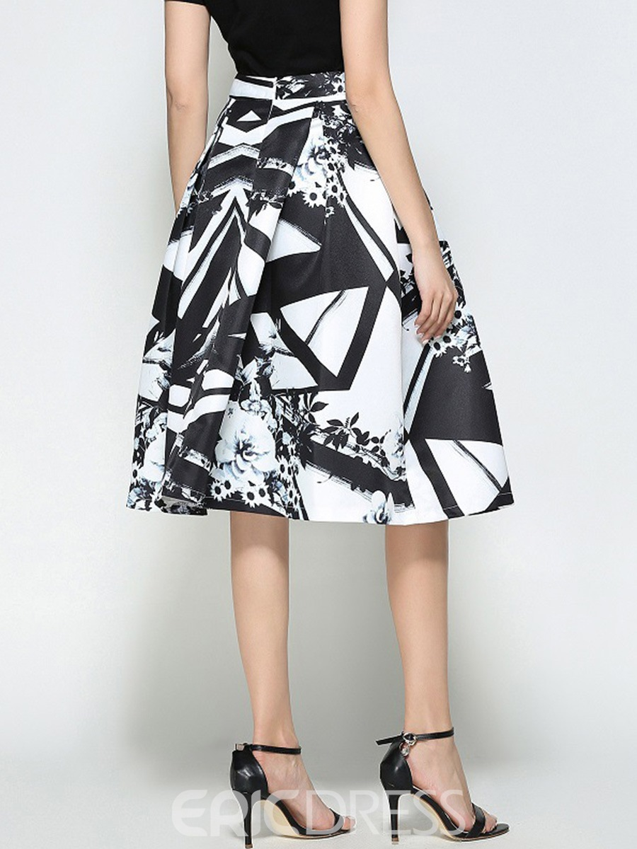 Ericdress Pleated Print High-Waist Usual Skirts