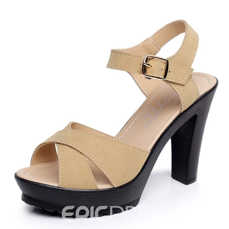 Ericdress Ankle Strap Plain Chunky Sandals