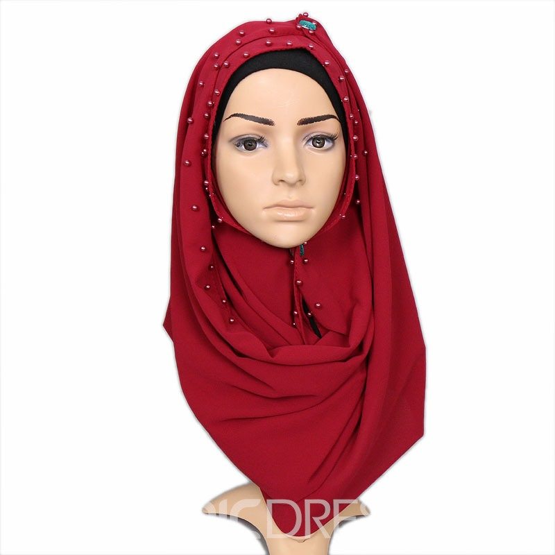 Ericdress Muslim Accessories Pearl Chiffon Scarf for Women