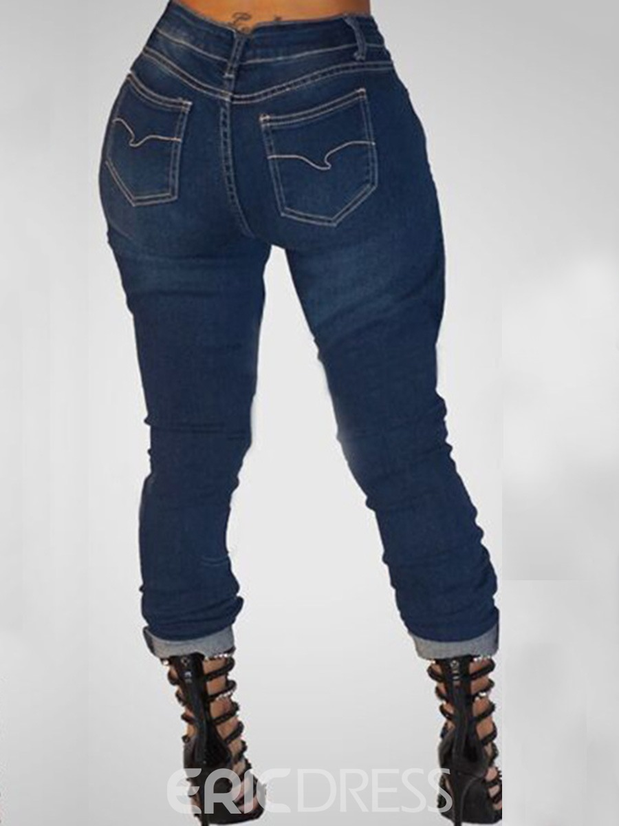 Ericdress Chain Worn Jeans