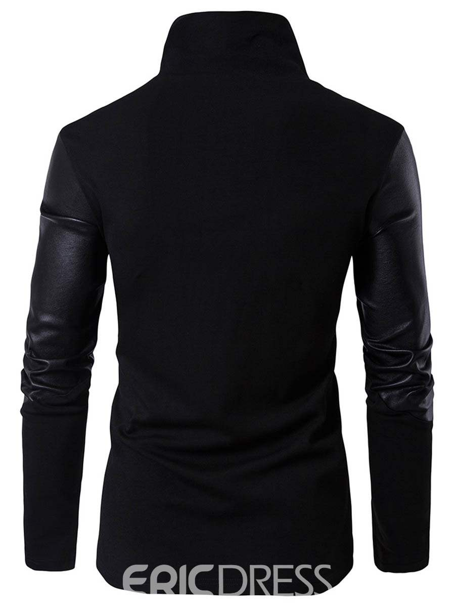 Ericdress PU Knit Patched Stand Collar Slim Men's Hoodie