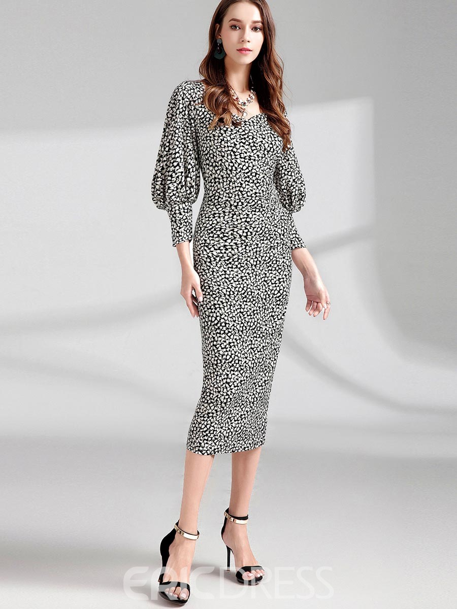 Ericdress Lantern Sleeve Mid-Calf Zipper Print Bodycon Dress