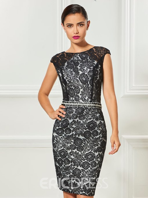 Ericdress Sheath Cap Sleeve Beaded Lace Knee Length Cocktail Dress