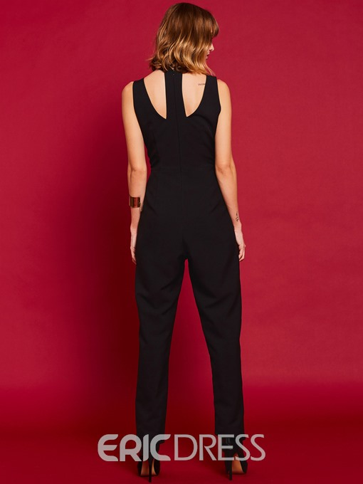 Ericdress Plain Slim Lace Patchwork Women's Jumpsuit