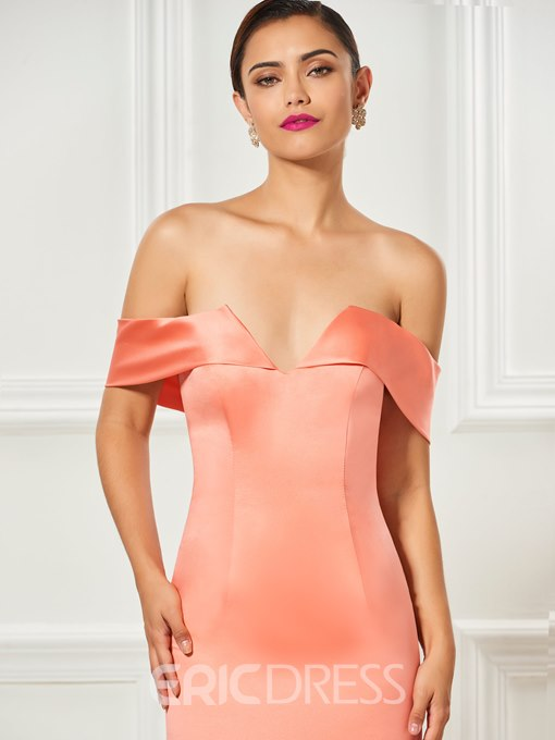 Ericdress Sheath Off The Shoulder Tea Length Cocktail Dress