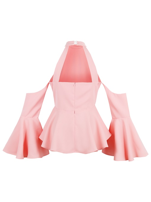 Ericdress Stand Collar Cold Shoulder Women's Blouse