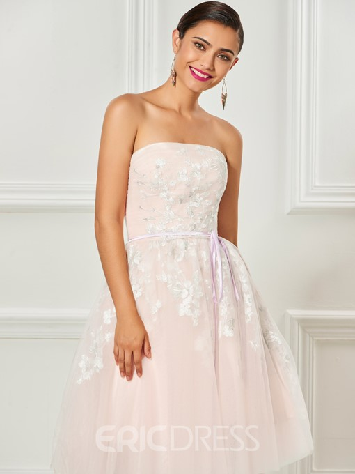 Ericdress Strapless Applique Knee Length Ball Cocktail Dress