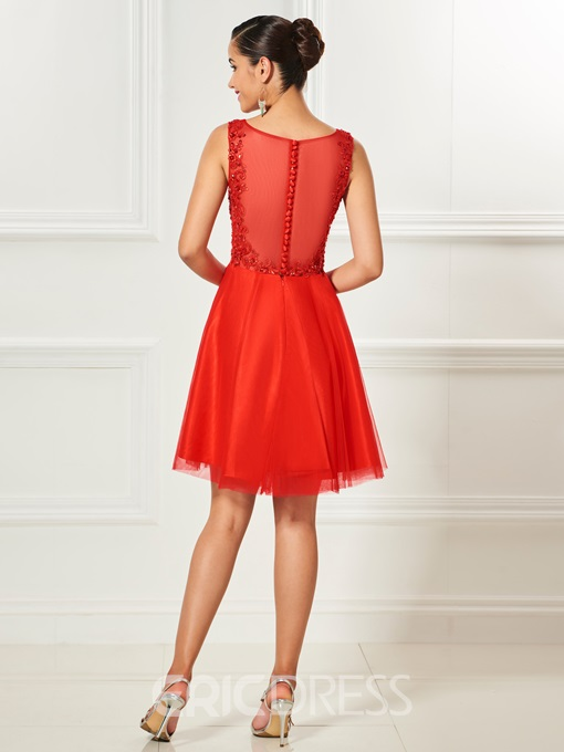 Ericdress Short A Line Applique Beaded Knee Length Cocktail Dress