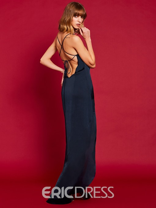 Ericdress Spaghetti Strap Backless Lace-Up Maxi Dress