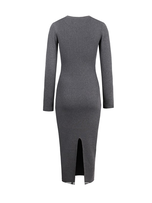 Ericdress Knitted Fabric Scoop Long Sleeve Sweater Dress