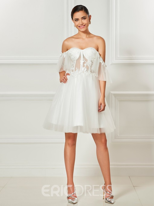 Ericdress Sexy Off The Shoulder Knee Length Short Cocktail Dress