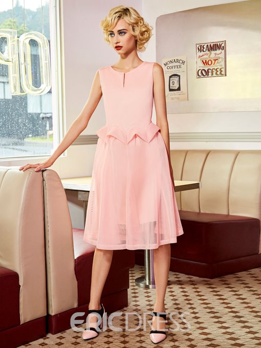 Ericdress Scoop Mesh Patchwork A Line Dress