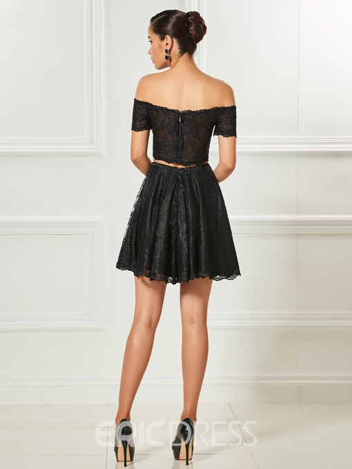 Ericdress A Line Two Pieces Off The Shoulder Lace Cocktail Dress