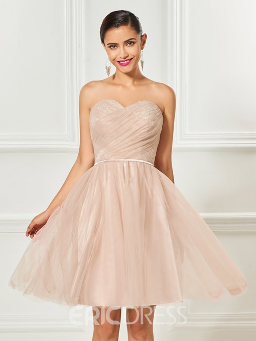 Ericdress A Line Strapless Lace Tulle Knee Length Cocktail Dress