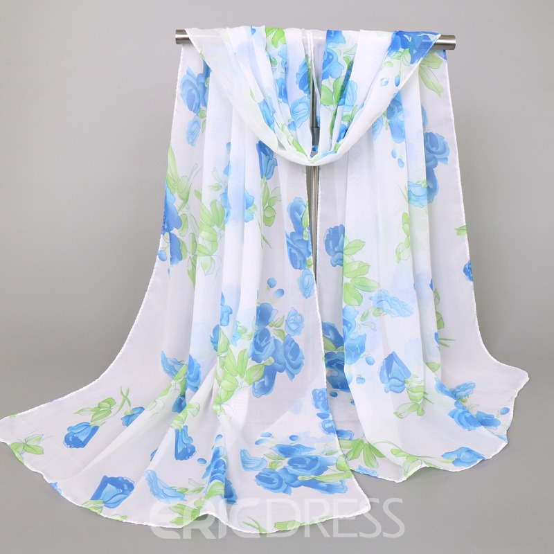 Ericdress Floral Printed Chiffon Women's Scarf