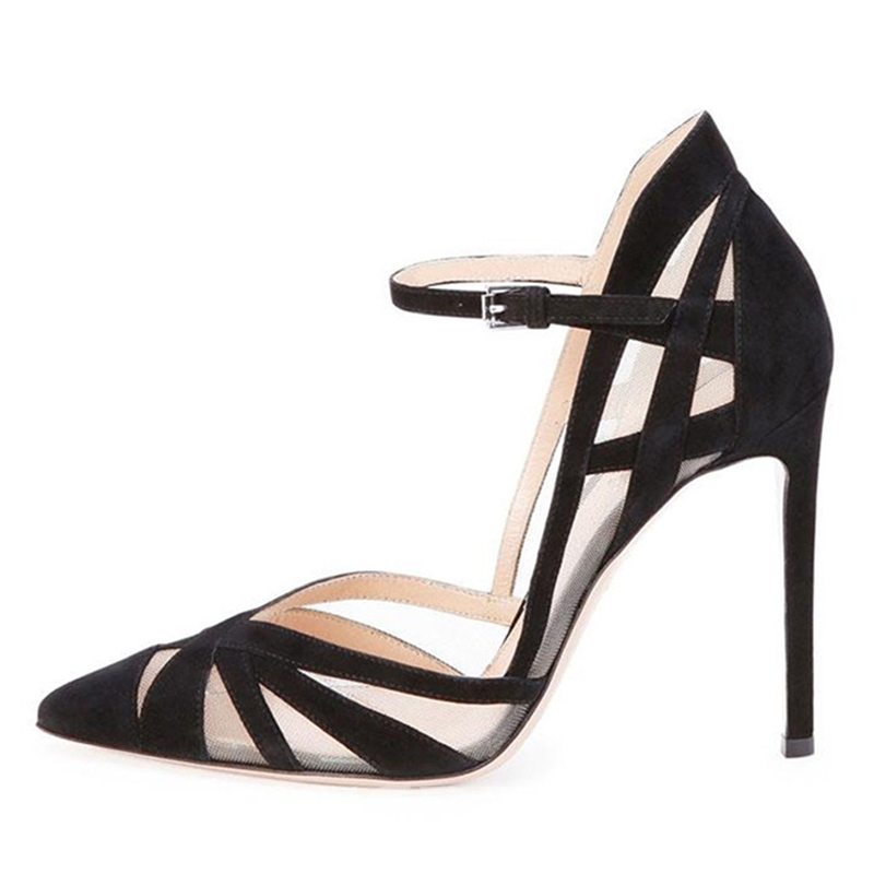 EricdressLine-Style Buckle Patchwork Stiletto Sandals