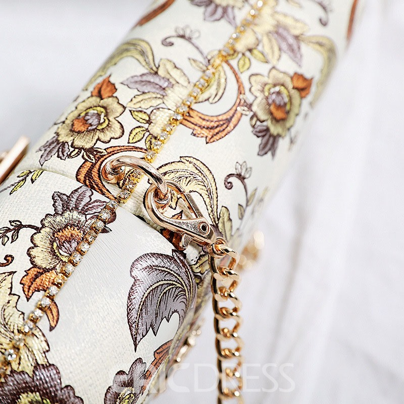Ericdress Retro Floral Printing Chain Crossbody Bag