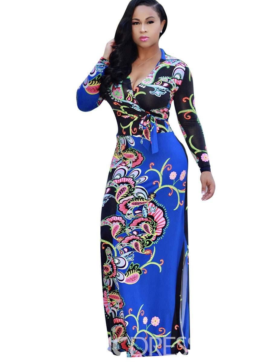 Ericdress Long Sleeves PrintPatchwork Maxi Dress
