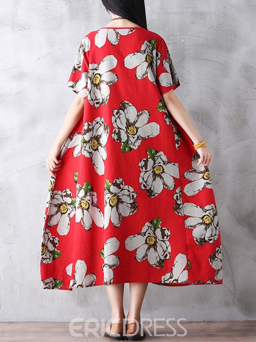 Ericdress Half Sleeves Print Expansion Casual Dress