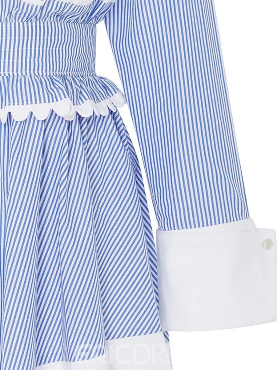 Ericdress Single-Breasted Vertical Striped Color Block A Line Dress