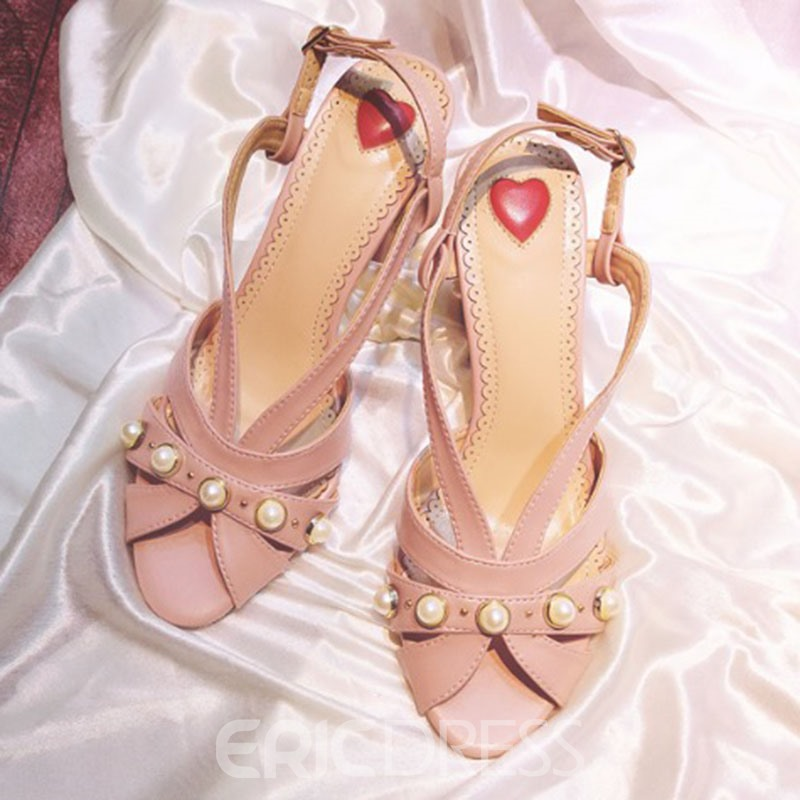 Ericdress Graceful Plain Chunky Sandals with Beads