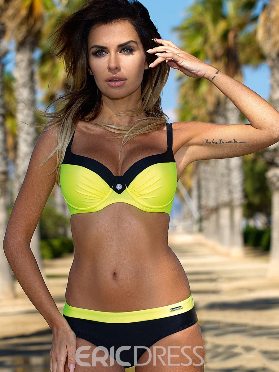Ericdress Pleated Color Block Bikini Set