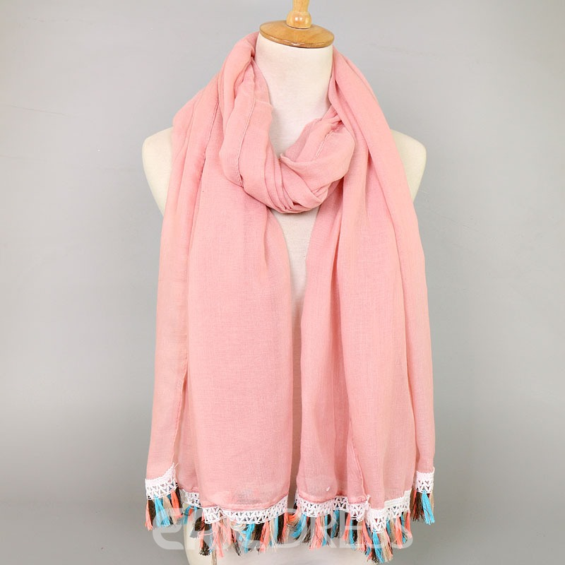 Ericdress National Style Colorful Tassel Cotton Scarf