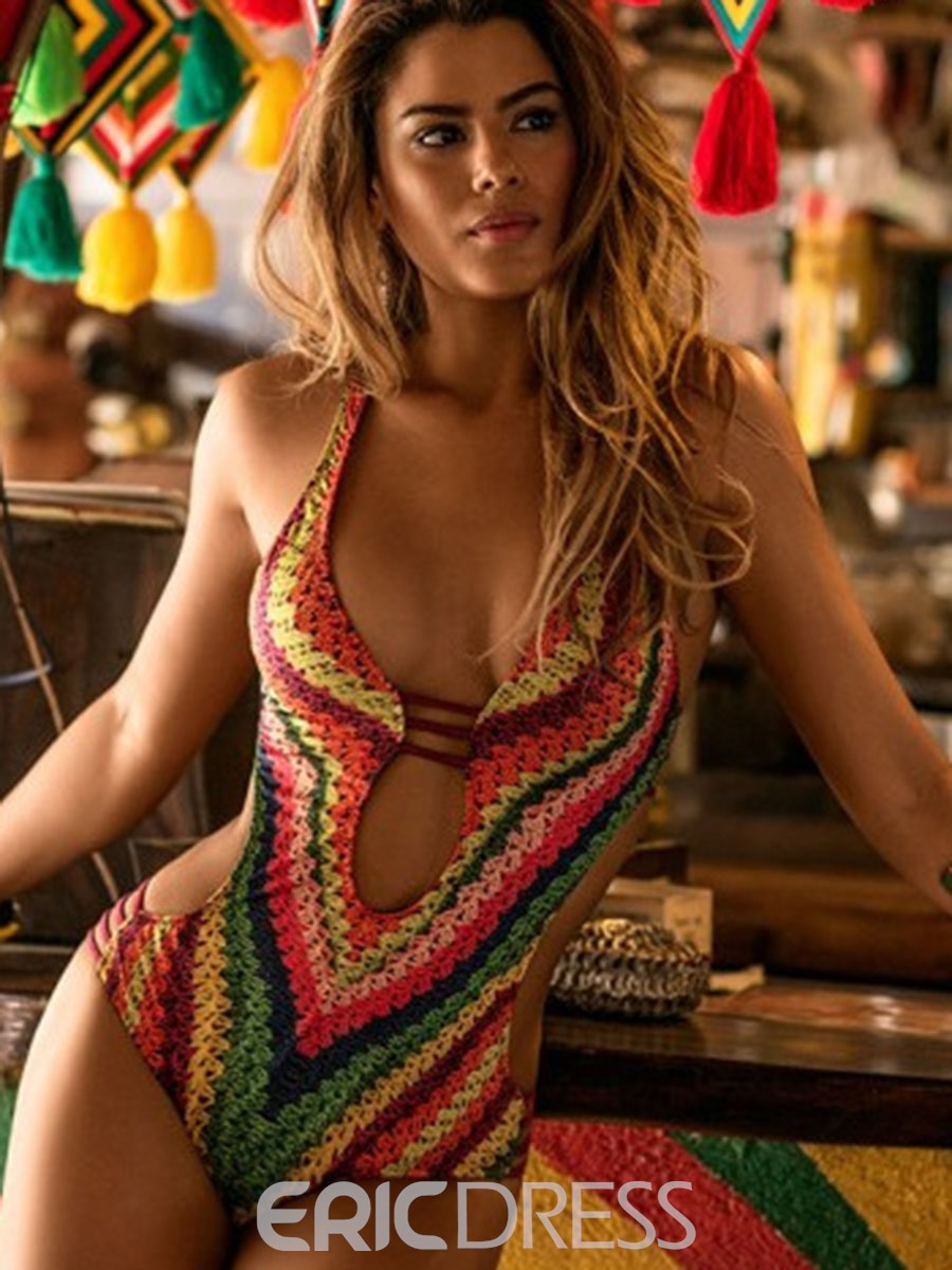 Ericdress Rainbow Print Hollow Monokini
