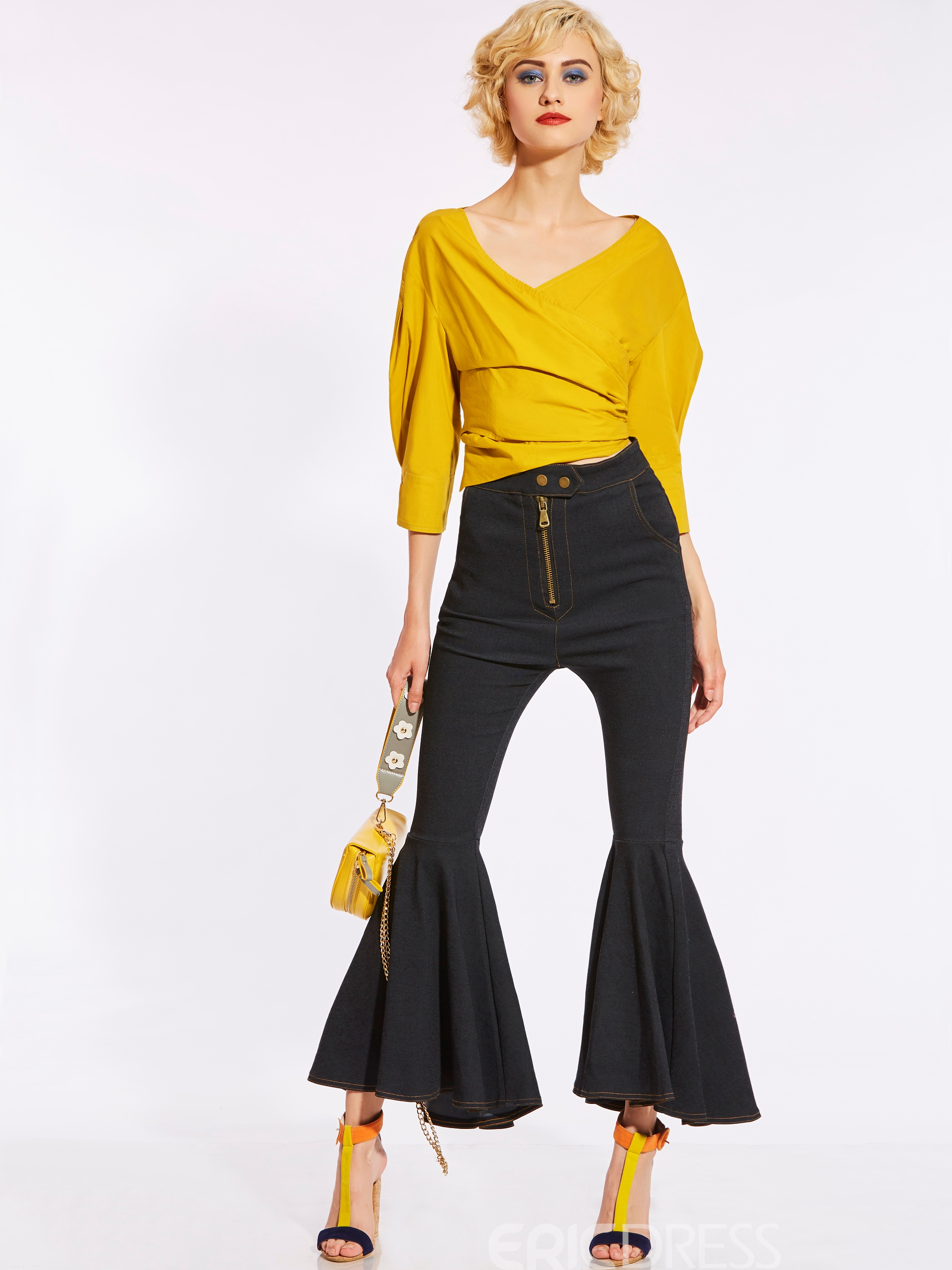 Slim High-Waist Full Length Women's Bellbottoms