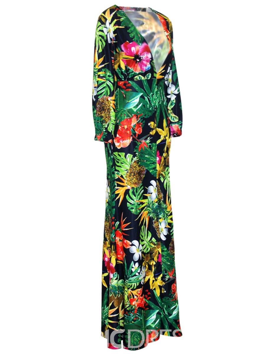 Ericdress Print Plunging Little V-Neck Long Sleeves Maxi Dress