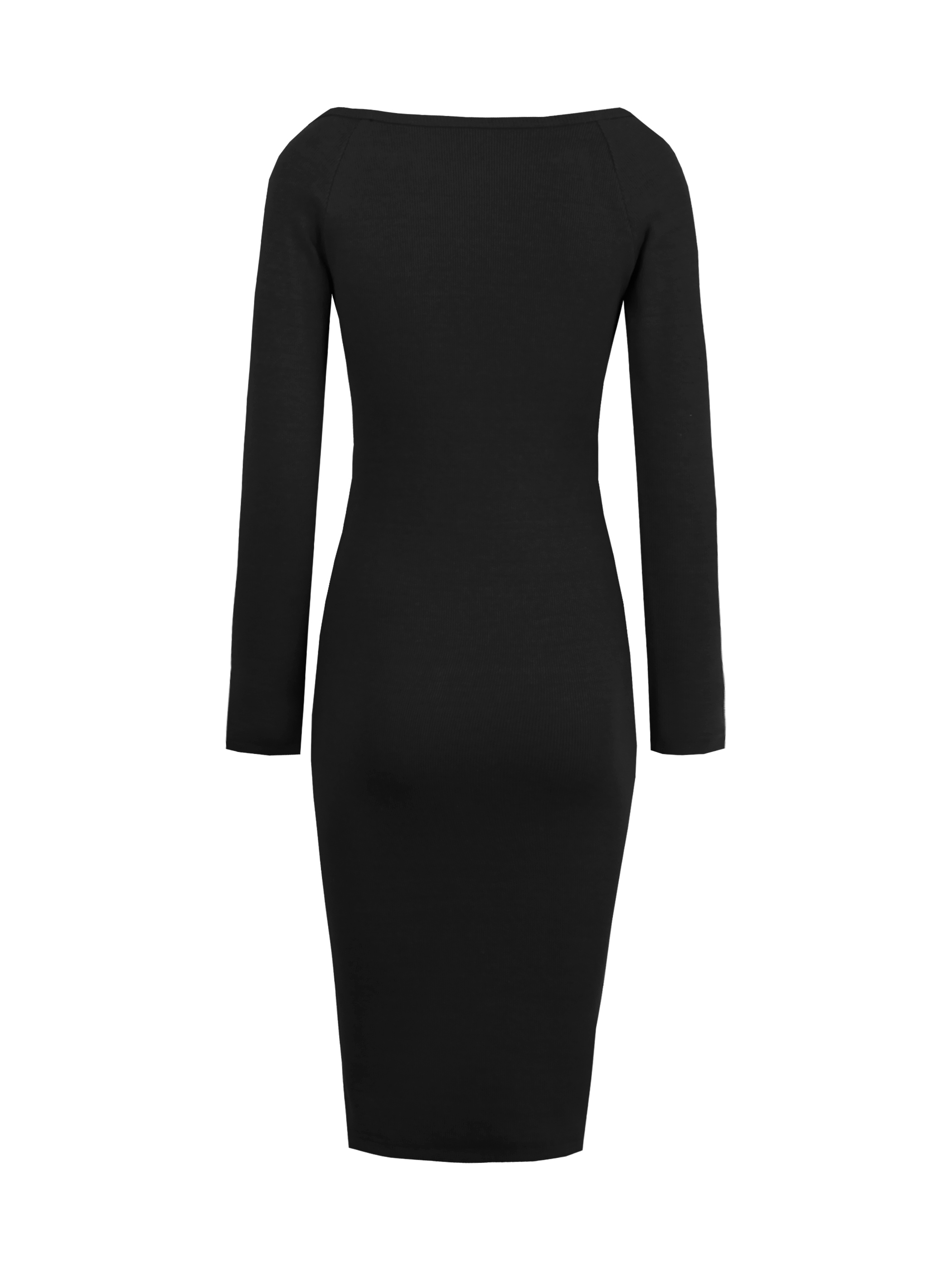 Ericdress Zipper Plain Long Sleeves Sweater Bodycon Dress