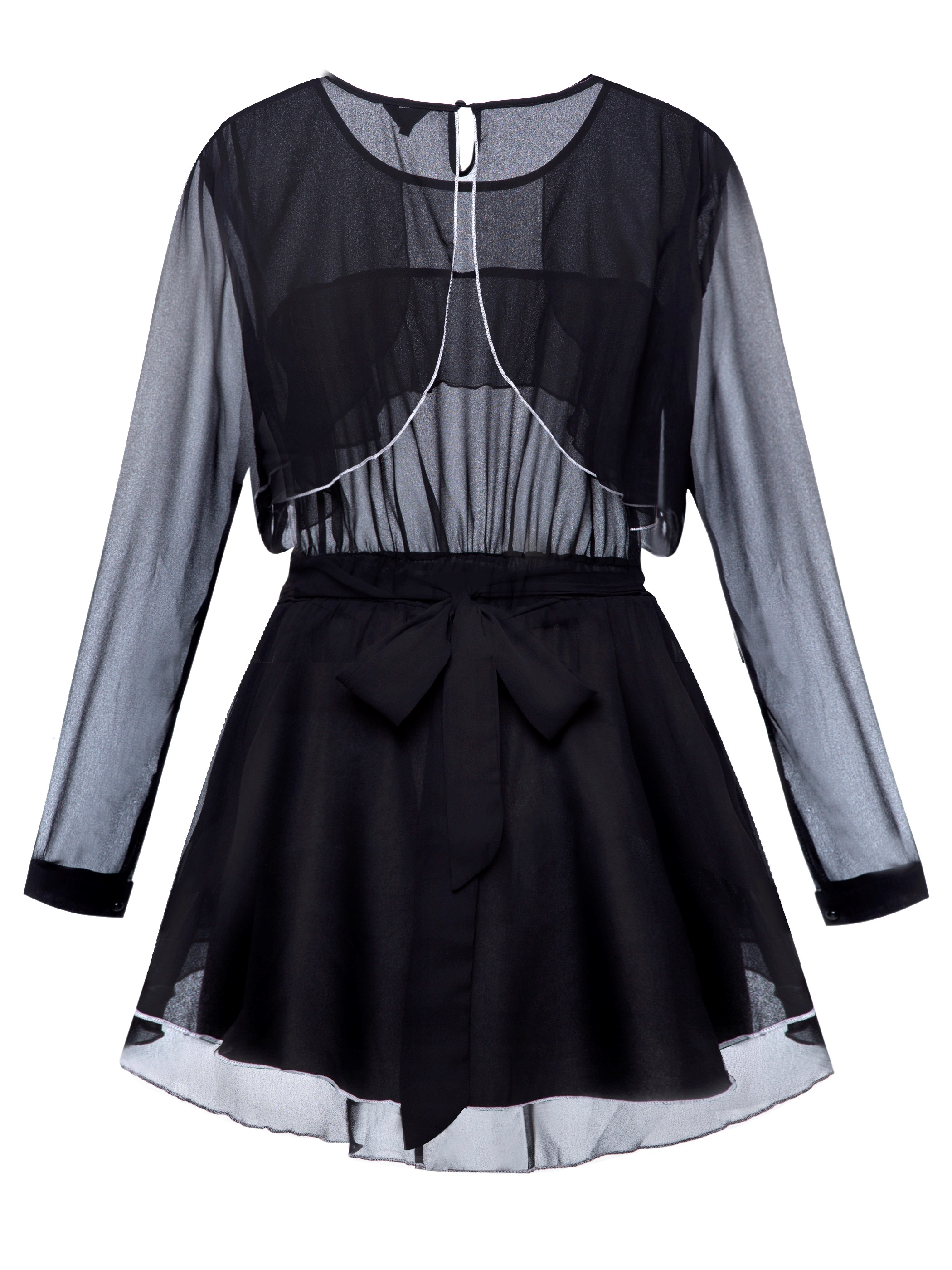 Ericdress Slim Bow Frill Blouse