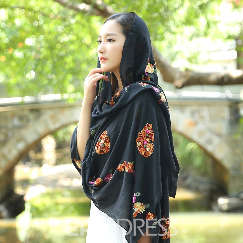 Ericdress Vintage Embroidery Flower Linum National Style Scarf