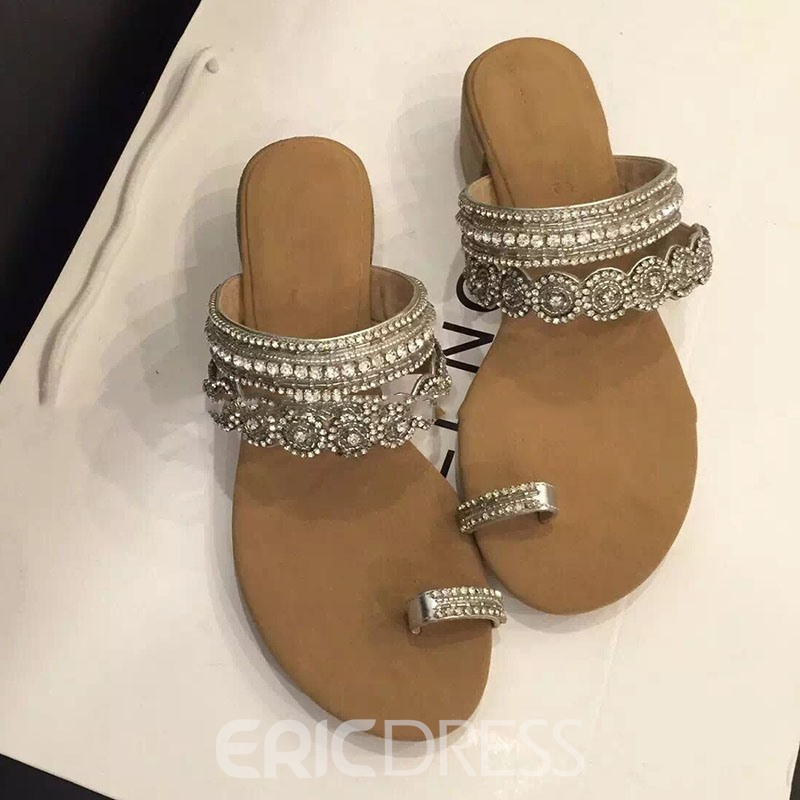 Ericdress Toe Ring Rhinestone Mules Shoes