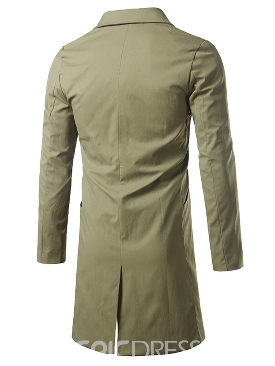 Ericdress Plain Slim Men's Trench Coat