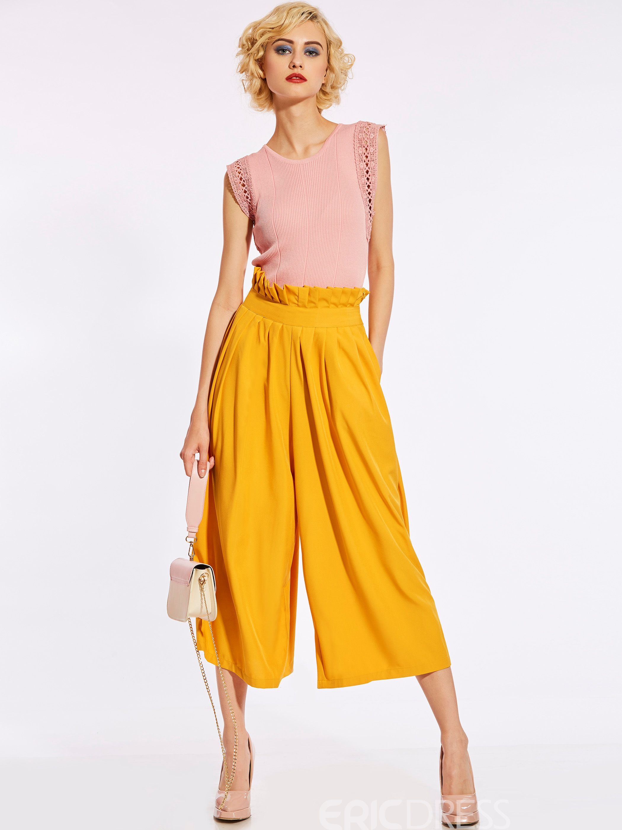 Cropped High-Waist Plain Women's Pants