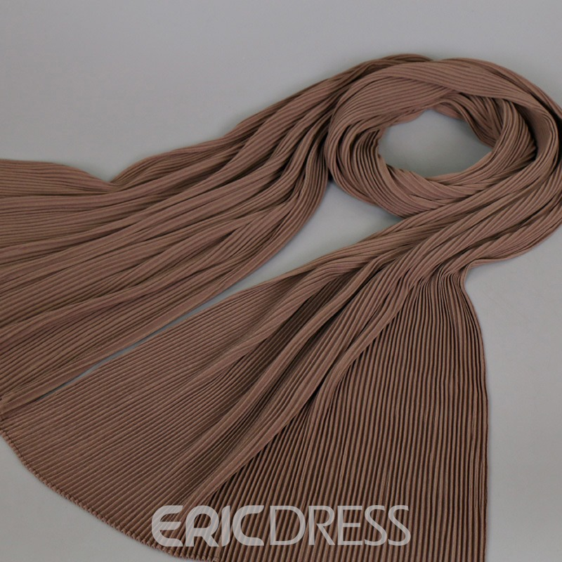 Ericdress Soild Color Folded Pearl Chiffon Scarf for Women