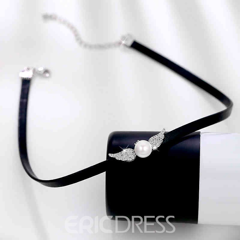 Ericdress Imitate Pearl Angel's Wing Leather Rope Choker Necklace