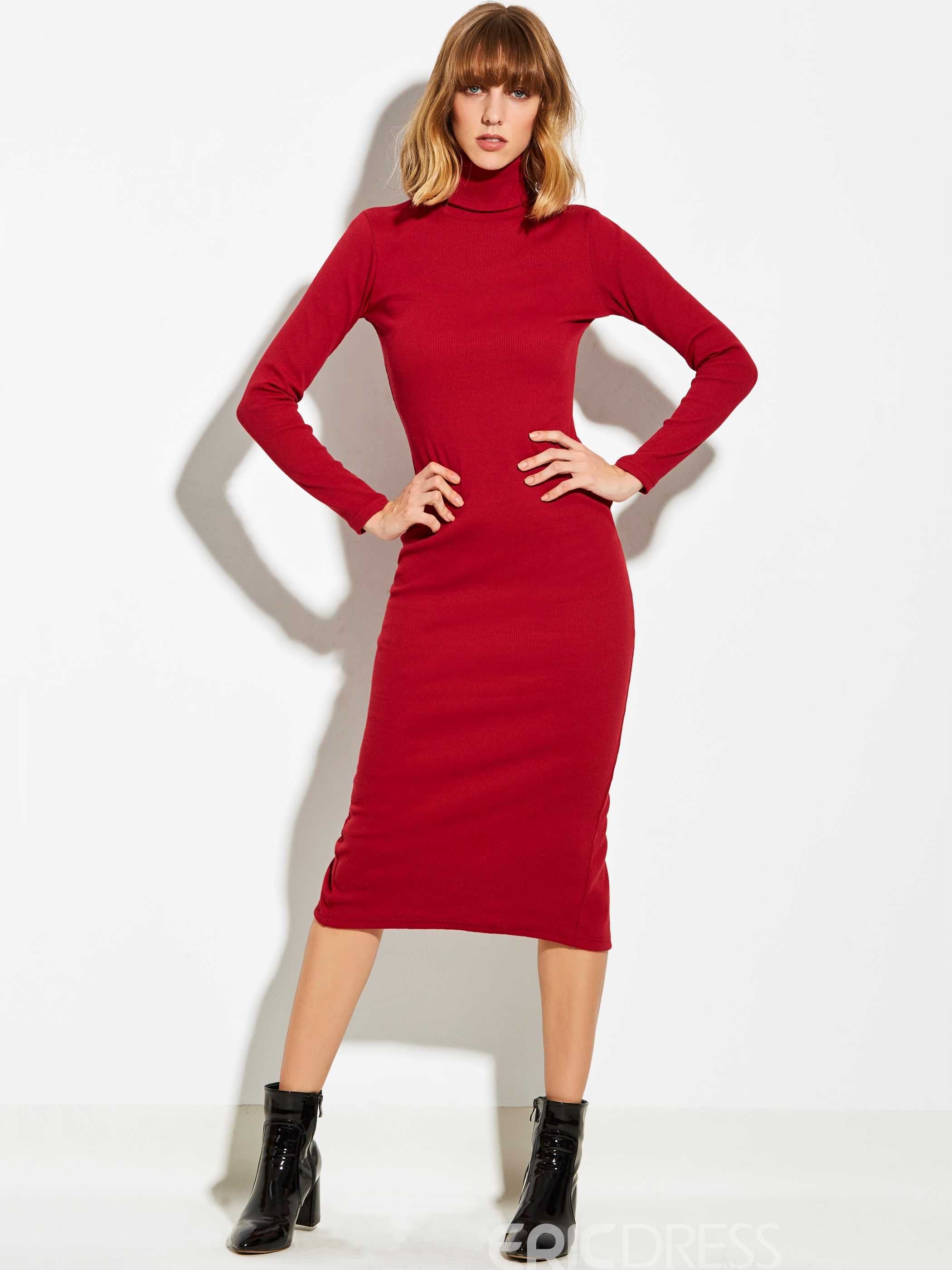 Ericdress High Neck Solid Color Split Sweater Dress