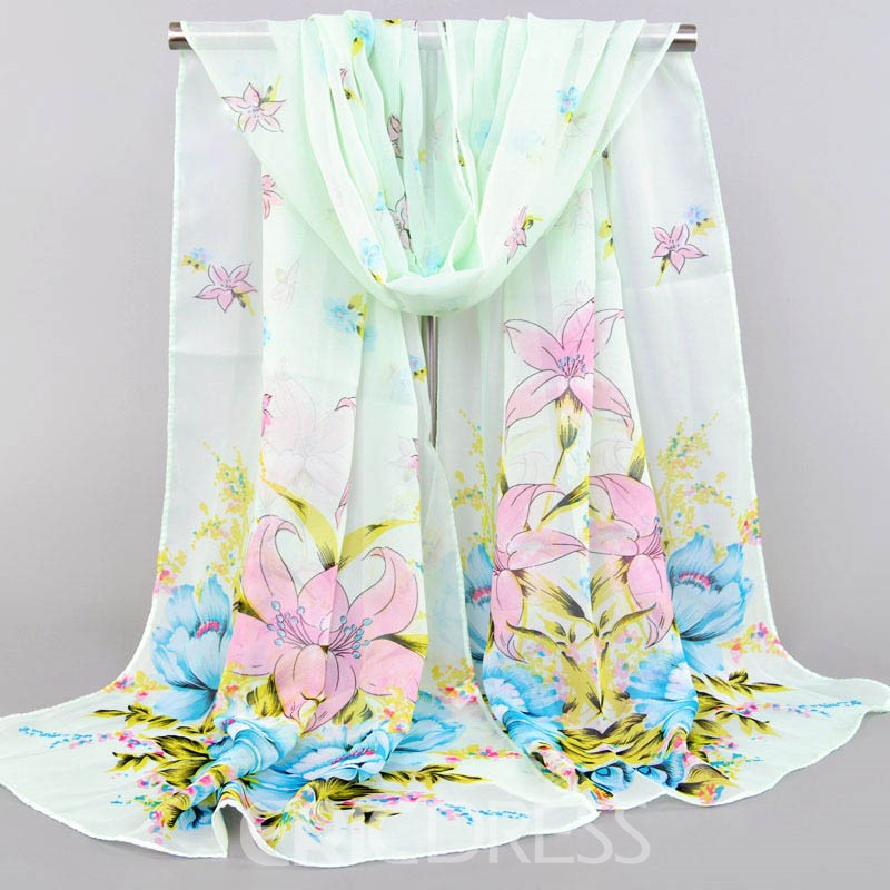 Ericdress Chiffon Floral Scarf for Women