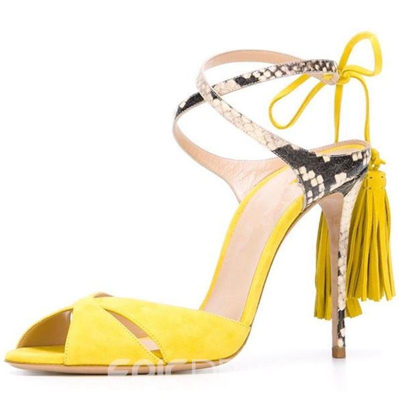 Eeicdress Suede Tassel Plain Stiletto Sandals