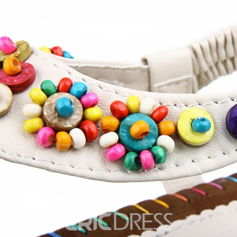 Ethnic Beads Thong Flat Sandals
